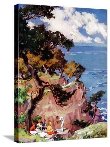 """Oceanside Picnic,""February 1, 1939-G. Kay-Stretched Canvas Print"