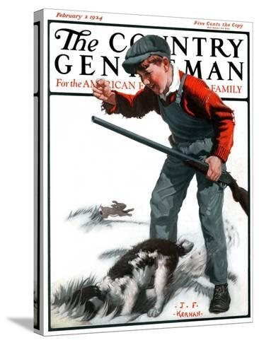 """""""Rabbit Hunting,"""" Country Gentleman Cover, February 2, 1924-J^F^ Kernan-Stretched Canvas Print"""