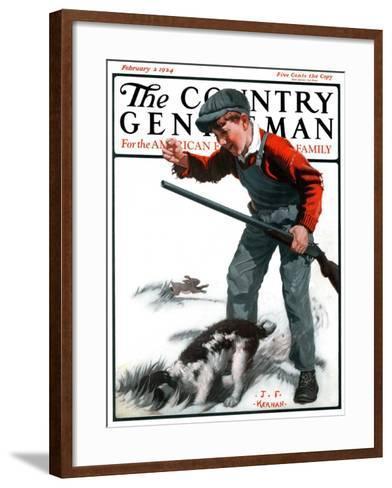 """Rabbit Hunting,"" Country Gentleman Cover, February 2, 1924-J^F^ Kernan-Framed Art Print"