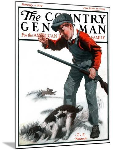 """Rabbit Hunting,"" Country Gentleman Cover, February 2, 1924-J^F^ Kernan-Mounted Giclee Print"