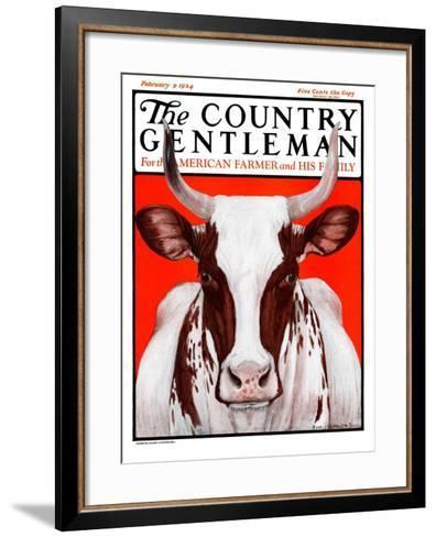 """""""Texas Longhorn,"""" Country Gentleman Cover, February 9, 1924-Charles Bull-Framed Art Print"""
