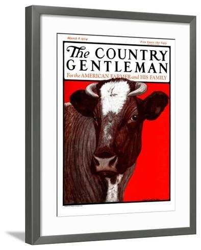 """""""Brown Cow,"""" Country Gentleman Cover, March 8, 1924-Charles Bull-Framed Art Print"""