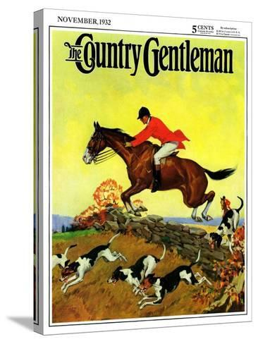 """""""Fox Hunter,"""" Country Gentleman Cover, November 1, 1932-Robert Keareote-Stretched Canvas Print"""