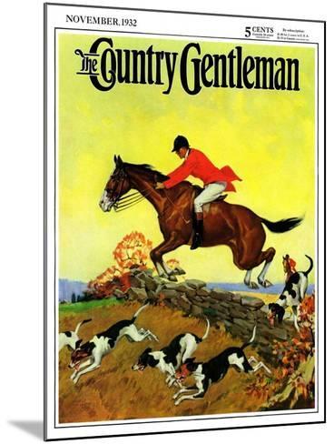 """Fox Hunter,"" Country Gentleman Cover, November 1, 1932-Robert Keareote-Mounted Giclee Print"