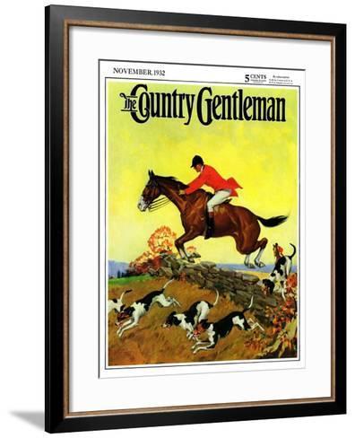 """Fox Hunter,"" Country Gentleman Cover, November 1, 1932-Robert Keareote-Framed Art Print"