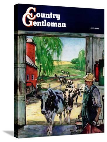 """""""Milking Time,"""" Country Gentleman Cover, July 1, 1946-Matt Clark-Stretched Canvas Print"""