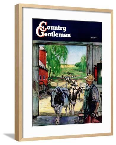 """Milking Time,"" Country Gentleman Cover, July 1, 1946-Matt Clark-Framed Art Print"