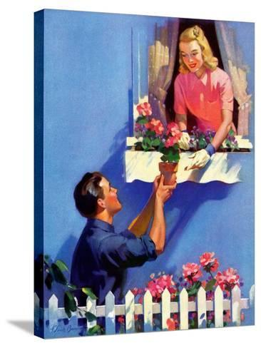 """Planting the Windowbox,""May 1, 1939-F. Sands Brunner-Stretched Canvas Print"