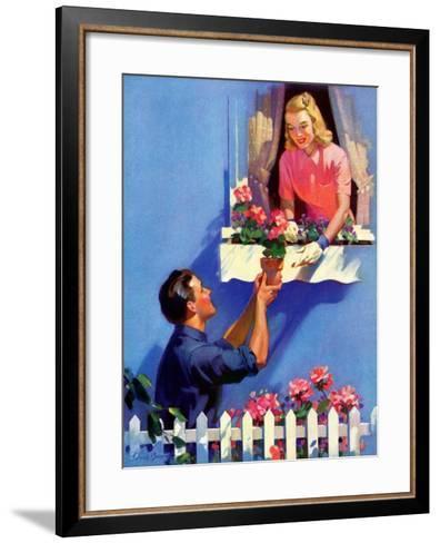 """Planting the Windowbox,""May 1, 1939-F. Sands Brunner-Framed Art Print"