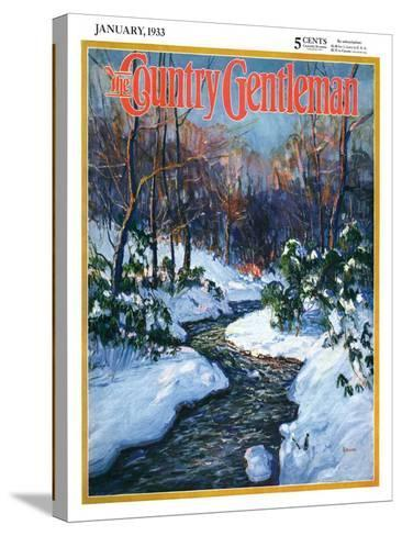 """""""Stream in Snowy Woods,"""" Country Gentleman Cover, January 1, 1933-Walter Baum-Stretched Canvas Print"""