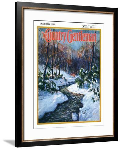 """""""Stream in Snowy Woods,"""" Country Gentleman Cover, January 1, 1933-Walter Baum-Framed Art Print"""