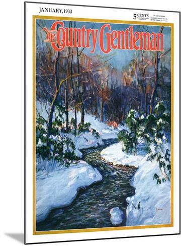 """""""Stream in Snowy Woods,"""" Country Gentleman Cover, January 1, 1933-Walter Baum-Mounted Giclee Print"""