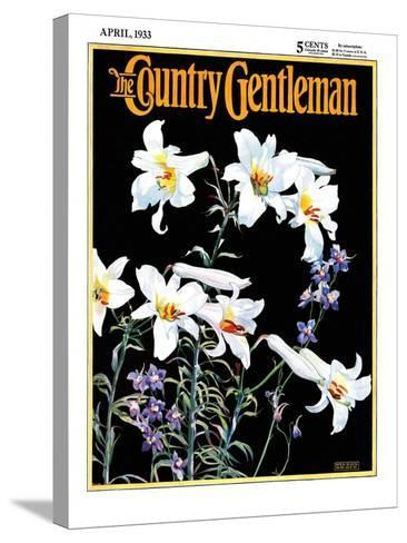"""""""Easter Lilies,"""" Country Gentleman Cover, April 1, 1933-Nelson Grofe-Stretched Canvas Print"""