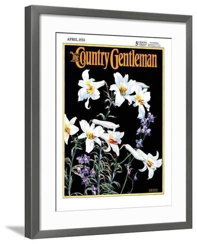 """""""Easter Lilies,"""" Country Gentleman Cover, April 1, 1933-Nelson Grofe-Framed Art Print"""
