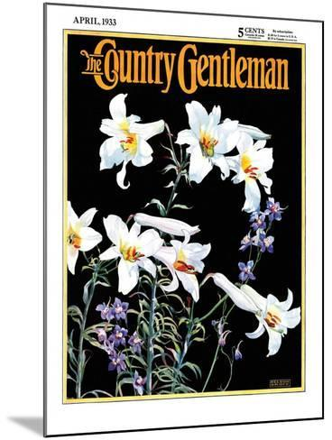 """""""Easter Lilies,"""" Country Gentleman Cover, April 1, 1933-Nelson Grofe-Mounted Giclee Print"""