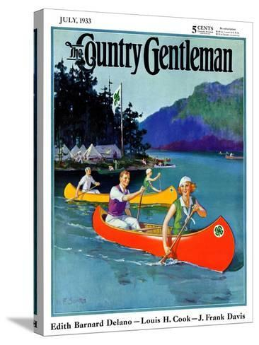 """""""Four-H Camp,"""" Country Gentleman Cover, July 1, 1933-W^F^ Soare-Stretched Canvas Print"""