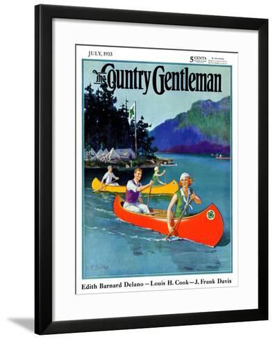"""""""Four-H Camp,"""" Country Gentleman Cover, July 1, 1933-W^F^ Soare-Framed Art Print"""