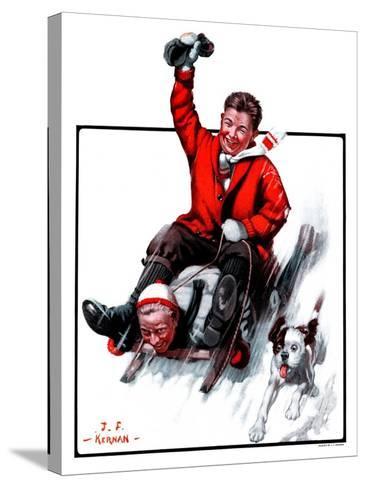 """Downhill on Sled,""January 13, 1923-J^F^ Kernan-Stretched Canvas Print"