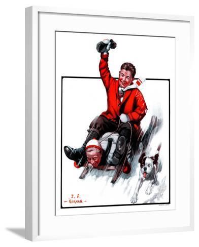 """""""Downhill on Sled,""""January 13, 1923-J^F^ Kernan-Framed Art Print"""
