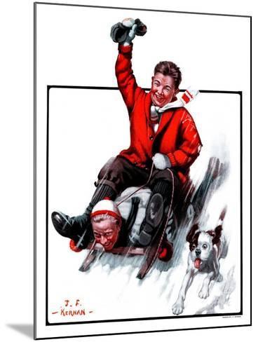 """Downhill on Sled,""January 13, 1923-J^F^ Kernan-Mounted Giclee Print"