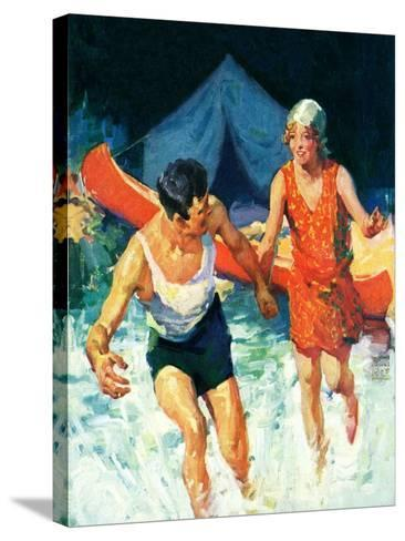 """""""Camping Couple Goes Swimming,""""August 1, 1928-William Meade Prince-Stretched Canvas Print"""