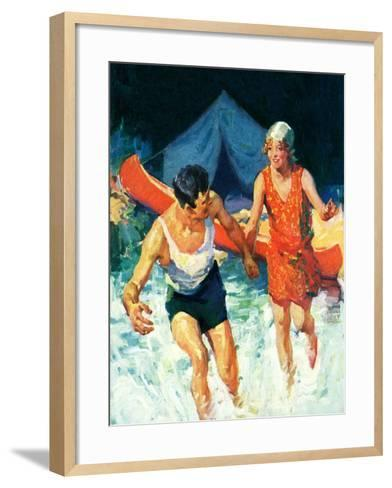 """""""Camping Couple Goes Swimming,""""August 1, 1928-William Meade Prince-Framed Art Print"""