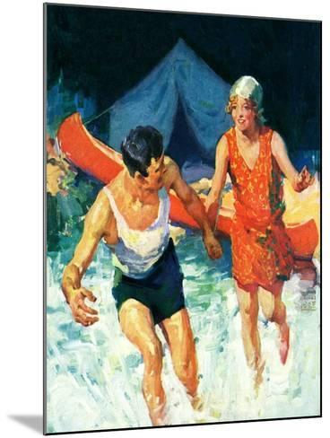 """""""Camping Couple Goes Swimming,""""August 1, 1928-William Meade Prince-Mounted Giclee Print"""