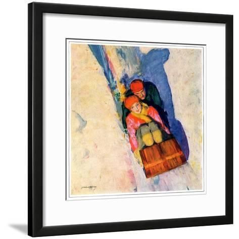 """Couple on Toboggan,""January 1, 1929-McClelland Barclay-Framed Art Print"