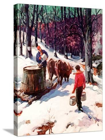 """""""Harvesting Maple Sap,""""March 1, 1940-B. Summers-Stretched Canvas Print"""