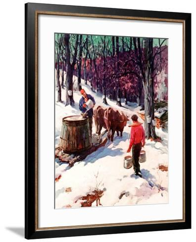 """Harvesting Maple Sap,""March 1, 1940-B. Summers-Framed Art Print"