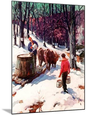 """""""Harvesting Maple Sap,""""March 1, 1940-B. Summers-Mounted Giclee Print"""