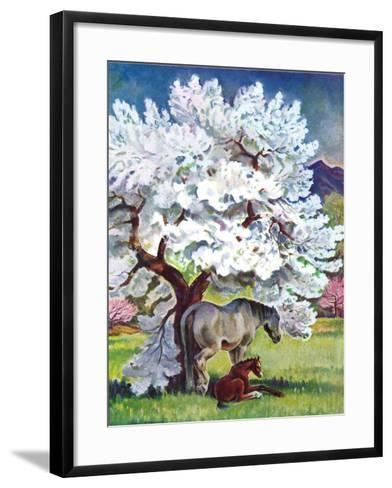 """""""Horses and Tree Blossoms,""""May 1, 1940-Paul Bransom-Framed Art Print"""
