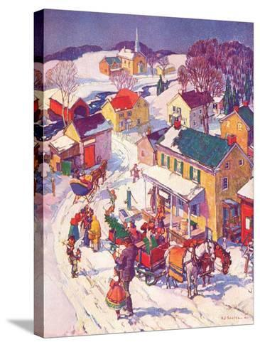 """""""Christmas in Town,""""December 1, 1940-Henry Soulen-Stretched Canvas Print"""