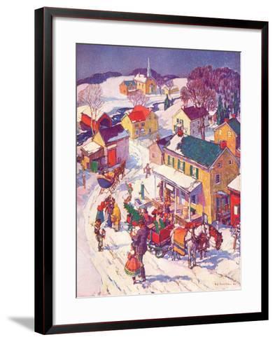 """""""Christmas in Town,""""December 1, 1940-Henry Soulen-Framed Art Print"""