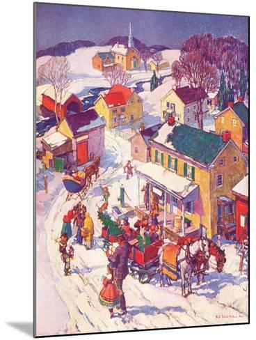 """""""Christmas in Town,""""December 1, 1940-Henry Soulen-Mounted Giclee Print"""