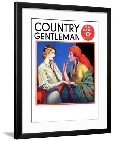 """Fortune Teller,"" Country Gentleman Cover, March 1, 1934-Wladyslaw Benda-Framed Art Print"