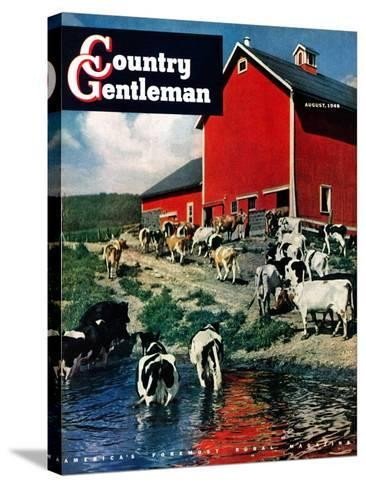 """""""When the Cows Come Home,"""" Country Gentleman Cover, August 1, 1948-J. Julius Fanta-Stretched Canvas Print"""