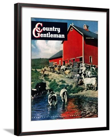 """""""When the Cows Come Home,"""" Country Gentleman Cover, August 1, 1948-J. Julius Fanta-Framed Art Print"""