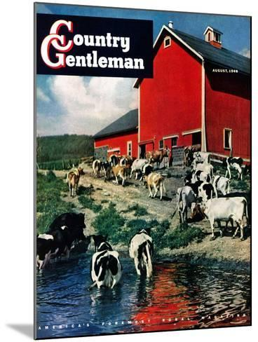 """""""When the Cows Come Home,"""" Country Gentleman Cover, August 1, 1948-J. Julius Fanta-Mounted Giclee Print"""