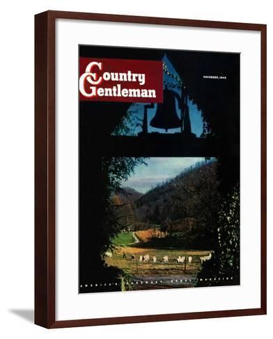 """View from the Belltower,"" Country Gentleman Cover, November 1, 1948-Arthur Dodd-Framed Art Print"