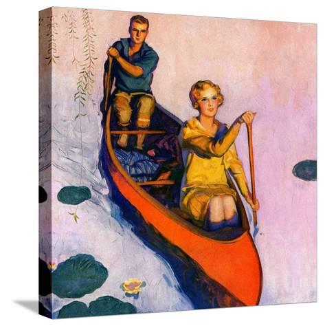 """Couple Paddling Caone,""August 1, 1929-McClelland Barclay-Stretched Canvas Print"