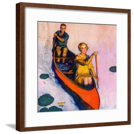 """Couple Paddling Caone,""August 1, 1929-McClelland Barclay-Framed Art Print"
