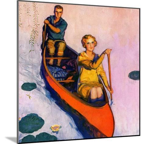 """Couple Paddling Caone,""August 1, 1929-McClelland Barclay-Mounted Giclee Print"