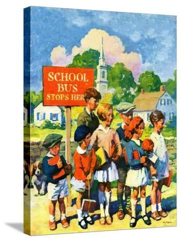 """""""Waiting for School Bus,""""September 1, 1929-William Meade Prince-Stretched Canvas Print"""