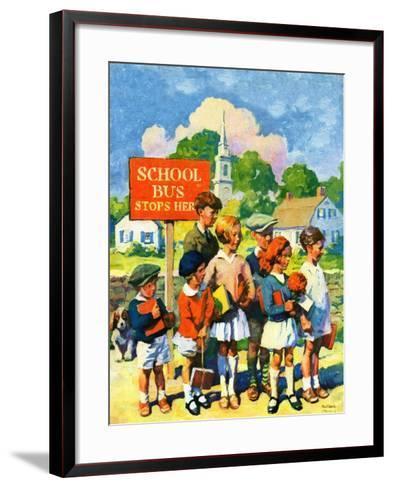 """Waiting for School Bus,""September 1, 1929-William Meade Prince-Framed Art Print"