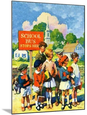 """""""Waiting for School Bus,""""September 1, 1929-William Meade Prince-Mounted Giclee Print"""