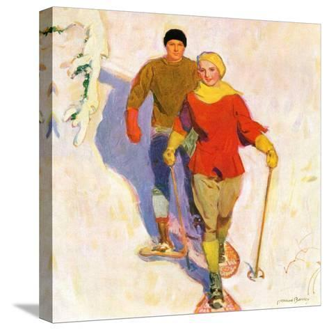 """""""Couple Wearing Snowshoes,""""February 1, 1930-McClelland Barclay-Stretched Canvas Print"""