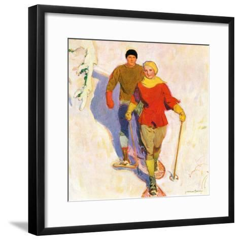 """""""Couple Wearing Snowshoes,""""February 1, 1930-McClelland Barclay-Framed Art Print"""