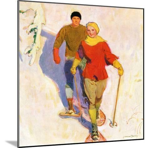 """""""Couple Wearing Snowshoes,""""February 1, 1930-McClelland Barclay-Mounted Giclee Print"""