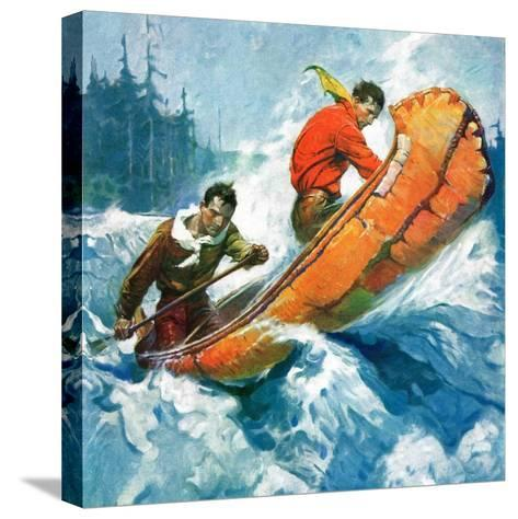"""""""Canoeing Through Rapids,""""March 1, 1930-Frank Schoonover-Stretched Canvas Print"""